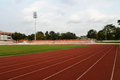 Football stadium running track lines view of Royalty Free Stock Image
