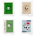 Football stamps a set of four Stock Photos