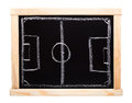 Football strategy planning on blackboard soccer black board Royalty Free Stock Image
