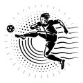 Football striker illustration in the engraving style Stock Images