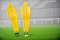Football training dummies two yellow on the field Royalty Free Stock Photo