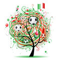 Football tree design, Mexican flag Royalty Free Stock Image