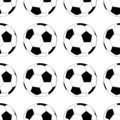 Football vector icon, soccerball. Vector illustration isolated in white background. Seamless pattern