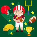 Football vector set american player and the equipment Royalty Free Stock Photography