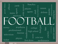 Football Word Cloud Concept on a Blackboard Stock Photo
