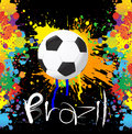 Football world cup with paint splash color on black background Royalty Free Stock Photography