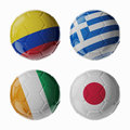 Football worldcup group c football soccer balls set of d with flags Stock Photography