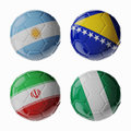 Football worldcup group f football soccer balls set of d with flags Royalty Free Stock Image