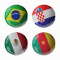 Football worldcup group a football soccer balls set of d with flags Stock Image