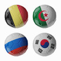 Football worldcup group h football soccer balls set of d with flags Stock Images
