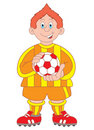 Footballer cartoon illustration Royalty Free Stock Image
