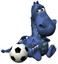 Footballer dino baby dragon blue - ball on tail Stock Images