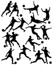 Footballers set of editable vector silhouettes of men playing football with all figures as separate objects Stock Photo