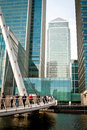 Footbridge at Canary Wharf Stock Images