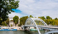 Footbridge in the centre of paris france Stock Photography