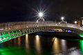 Footbridge in Dublin at night Stock Images
