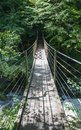 Footbridge leading to forest in beautiful tolmin gorges in triglav national park, slovenia