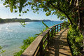 Footbridge with lush vegetation along the coast in a caribbean island Royalty Free Stock Images