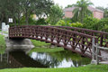 Footbridge a over a canal in coral springs florida Stock Images