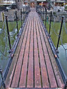 Footbridge over canal water for pedestrian crossing Stock Photography