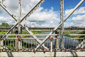 A footbridge over the River Royalty Free Stock Photo