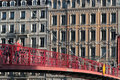 Footbridge over Saone river in Lyon Royalty Free Stock Photo
