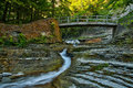 Footbridge over stream in Stony Brook State Park Royalty Free Stock Photo