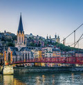 Footbridge and river saone at night lyon france Royalty Free Stock Photos