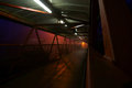Footbridge subway night a photograph of with lights on taken on foggy Stock Image