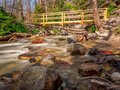 Footbridge to Cross Over Baring Creek in GNP Royalty Free Stock Photo