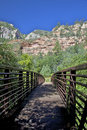 Footbridge to West Fork Oak Creek Royalty Free Stock Photos