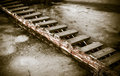 Footbridge wooden close up view Royalty Free Stock Photo