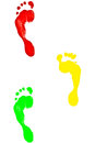 Footmark colorful footprints variety of beautiful colors Stock Image