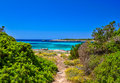 Footpath along the sea at south coast of menorca island spain Stock Images