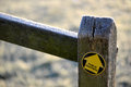 Footpath arrow on oak post Royalty Free Stock Photo