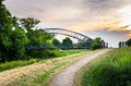 Footpath through the Countryside at Sunset Royalty Free Stock Photo