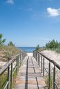 Footpath ruegen island baltic sea germany wooden to the beach of sellin mecklenburg vorpommern Royalty Free Stock Photo
