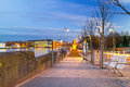 Footpath at shannon river in limerick city night ireland Royalty Free Stock Images