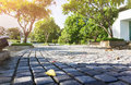 Footpath or sidewalk and pedestal surface, rock tile pavement gr Royalty Free Stock Photo