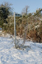 Footpath sign in the snow a public bramcote nottingham snowy conditions Royalty Free Stock Image