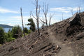 Footpath on the slope of volcano krakatau in indonesia Stock Photo