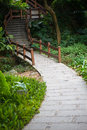Footpath and steps in garden Royalty Free Stock Photo
