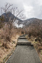 Footpath to boiling sulphur pits owakudani japan Stock Photos