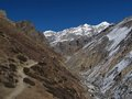 Footpath to thorung phedi annapurna trek nepal Stock Photo
