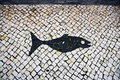 Footpath typical black and white mosaic stone pavement on sao miguel azores Stock Photography