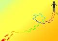 Footprint color paint man dye lose cheerful uplifting refreshing Royalty Free Stock Photography