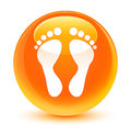 Footprint icon glassy orange round button