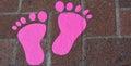 Footprint pink on the floor Stock Photos