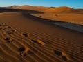 Footprint on sand dune in vast desert