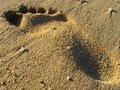 Footprint on a sandy beach Stock Photo